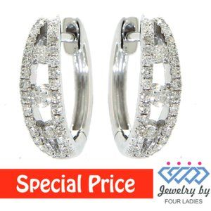 Solid Diamond Fancy Huggies Earrings White Gold